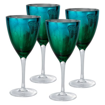 Artland Inc. Peacock Wine Glasses &#8211; Set of 4